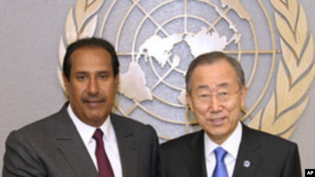 UN Secretary-General Ban Ki-moon (right) meets with Sheikh Hamad bin Jassim bin Jabr Al-Thani, Prime Minister and Minister for Foreign Affairs of the State of Qatar, at the UN headquarters in New York, January 4, 2012.