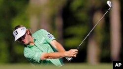 Brandt Snedeker hits on the 12th hole during the third round of the Masters golf tournament, Apr. 13, 2013, in Augusta, Ga.