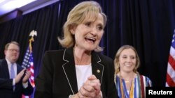 Republican U.S. Senator Cindy Hyde-Smith reacts after speaking during an election night party in Jackson, Mississippi, Nov. 27, 2018.