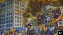 Mural by Ernest Fiene depicts the Triangle fire, in which 146 people, mostly women and teenage girls, were killed.