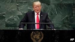 Predsjednik SAD Donald Trump tokom današnjeg obraćanja svjetskim liderima prisutnim na 73. zasjedanju Generalne skupštine UN u New Yorku (Foto: AP/Richard Drew)
