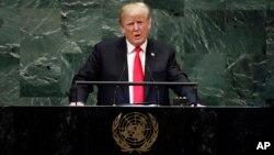도널드 트럼프 미국 대통령이 25일 뉴욕 유엔본부에서 열린 제73차 유엔총회에서 연설했다.