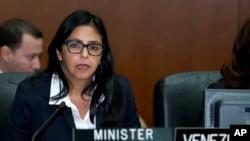 La canciller de Venezuela, Delcy Rodríguez, habla durante una reunión especial del Consejo Permanente de la Organización de Estados AmericanosOEA-VENEZUELA.