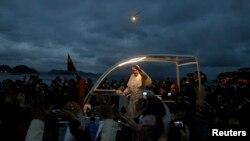 教宗方濟各星期四在巴西科巴卡巴納海灘出席世界青年節活動