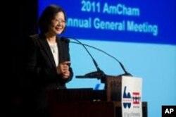民進黨總統參選人蔡英文在美國商會2011年大會上