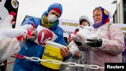 FILE - A demonstrator feeds mock antibiotics to chicken puppets during a protest denouncing industrial livestock farming and current agricultural policies in Berlin.