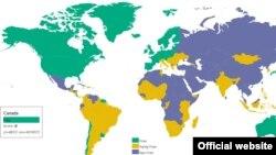 Карта свободы прессы 2016 года, изданная организацией Freedom House