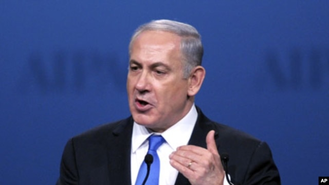 Israeli Prime Minister Benjamin Netanyahu addresses the American Israel Public Affairs Committee (AIPAC) Policy Conference in Washington, March 5, 2012.