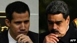 Lãnh đạo đối lập Guaido Maduro (trái) và Tổng thống Venezuela Nicolas Maduro.