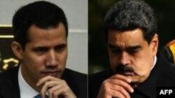 Foto kombinasi dari kiri: Presiden Sementara Venezuela, Juan Guaido di Caracas (8 Januari 2019) dan Presiden Venezuela Nicolas Maduro di Minsk, Belarus, 5 Oktober 2017 (Foto: dok).