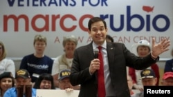 FILE - Republican U.S. Senator Marco Rubio speaks at a campaign rally in The Villages, Florida, when he was seeking his party's 2016 presidential nomination, March 13, 2016.