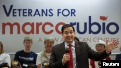 Senator Marco Rubio dari Partai Republik berbicara dalam sebuah kampanye di The Villages, Florida, Maret 2016.