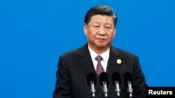 中國領導人習近平星期五在第二屆一帶一路高峰論壇上致辭。