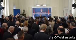 Ivica Dačić, ministar spoljnih poslova Srbije, govori tokom novogodišnjeg prijema u Ministarstvu spoljnih poslova. (Foto: Ministarstvo spoljnih poslova Srbije)