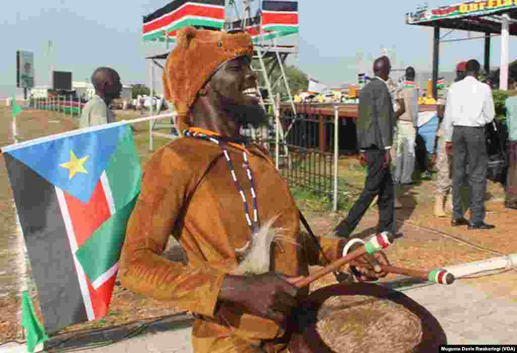 A drummer performs at an event in Juba to celebrate South Sudan's fourth anniversary of independence on Thursday, July 9, 2015.