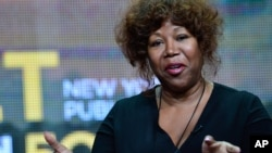 "FILE - Civil rights icon Ruby Bridges speaks during PBS' ""The African Americans: Many Rivers to Cross with Henry Louis Gates Jr."" session at the Television Critics Association Summer Press Tour in Los Angeles."