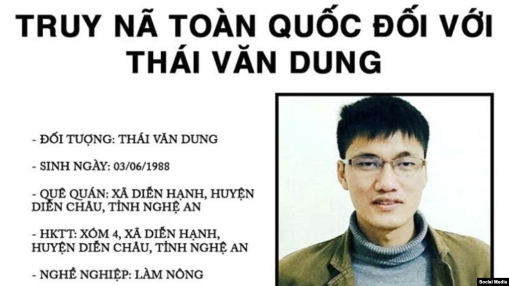 Lệnh truy nã nhà hoạt động Thái Văn Dung (Ảnh chụp màn hình)