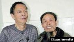 朱承志在李旺阳(左)生前到医院探视 网络图片