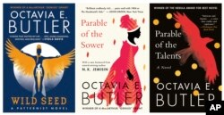 "This combination of book cover images released by Grand Central Publishing shows, ""Wild Seed,"" from left, ""Parable of the Sower,"" and ""Parable of the Talents,"" by Octavia e. Butler. (Grand Central Publishing via AP)"