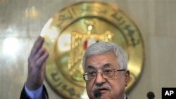 Palestinian authority President Mahmoud Abbas talks during a presser following his meeting with Egyptian President Hosni Mubarak, at the Presidential palace in Cairo, Egypt, 21 Nov 2010