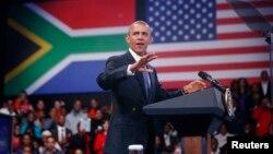 Tổng thống Mỹ Barack Obama nói chuyện với các nhà lãnh đạo trẻ châu Phi tại Đại học Johannesburg Soweto, 29/6/2013