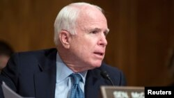 FILE - Senator John McCain (R-AZ) speaks on Capitol Hill in Washington, July 9, 2014.