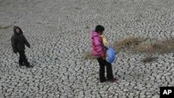 中国一处干枯的水塘