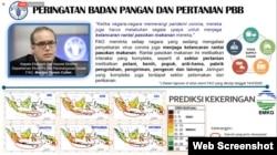 """Prediksi kekeringan di Indonesia berdasarkan prediksi BMKG yang dipaparkan oleh Menteri Pertanian Syahrul Yasin Limpo dalam diskusi virtual """"Stok Beras di Masa Pandemi dan Setelahnya"""", 19 Mei 2020. (Foto: Screenshot)"""