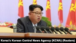 FILE - North Korean leader Kim Jong Un speaks during the first congress of the country's ruling Workers' Party in 36 years, in Pyongyang, May 6, 2016.