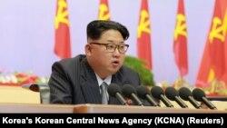 Ảnh tư liệu - Lãnh đạo Bắc Triều Tiên Kim Jong Un phát biểu trong Đại hội Đảng Lao Động cầm quyền đầu tiên trong 36 năm tại Bình Nhưỡng, 6/5/2016.