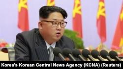 Lãnh đạo Triều Tiên Kim Jong Un phát biểu tại đại hội đầu tiên trong vòng 36 năm của Đảng Lao động cầm quyền ở Bình Nhưỡng, ngày 06 tháng 5 năm 2016.
