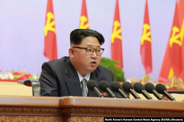 North Korean leader Kim Jong Un speaks during the first congress of the country's ruling Workers' Party in 36 years, in Pyongyang, May 6, 2016.