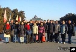 大年初一清晨,上海访民拜年团在天坛祈求苍天铲除腐败