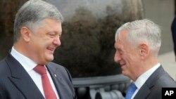 美国国防部长马蒂斯(右)与乌克兰总统波罗申科