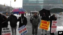 یوم یکجہتیِ کشمیر: اقوام متحدہ کے صدر دفتر کے سامنےمظاہرہ