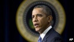 2013年9月16美国总统奥巴马在白宫发表谈话的照片。