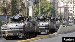 22일 베이루트 카스카스 지구에 배치된 레바논 군.