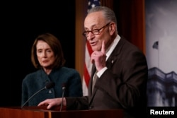 Senate Minority Leader Chuck Schumer, left, House Minority Leader Nancy Pelosi, blame President Donald Trump for inflaming tensions in the country.