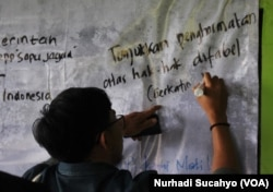 Penyandang Disabilitas di Yogyakarta menyuarakan aspirasi terkait tindak lanjut UU 8 Th 2016 (VOA/Nurhadi Sucahyo)