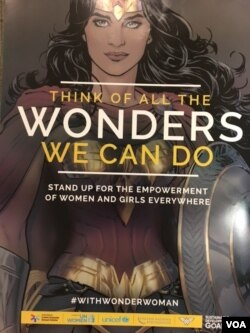"Wonder Woman was appointed a United Nations Honorary Ambassador for the Empowerment of Women and Girls, Oct. 21, 2016. She will front a campaign with the theme: ""Think of all the wonders we can do."" (M.Besheer/VOA)"