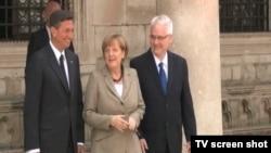 Nemačka kancelarka, Angela Merkel sa predsednicima Slovenije, Borutom Pahorom i Hrvatske, Ivom Josipovićem, 15. jul 2014.