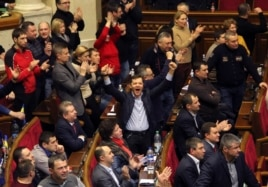 Ukrainian opposition members celebrate during the voting in parliament in Kyiv, Feb. 20, 2014.