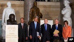 From left, House Speaker John Boehner, Secretary of State John Kerry, Senate Majority Leader Harry Reid, Senate Minority Leader Mitch McConnell and House Minority Leader Nancy Pelosi arrive in Statuary Hall on Capitol Hill for a ceremony to dedicate a bust of Winston Churchill, Oct. 30, 2013.