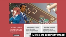Screenshot from iCivics.org website for online gaming to teach civics.