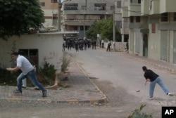 Des manifestants anti-gouvernementaux à Banias, en Syrie .