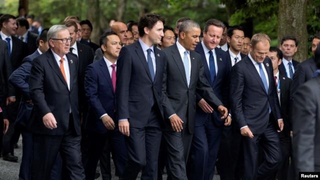 Các vị nguyên thủ của 7 nước giàu nhất thế giới cùng với các nhà lãnh đạo của Liên hiệp Châu Âu tại Nhật Bản, ngày 26/5/2016.