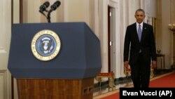 Predsednik Barak Obama uoči obraćanja naciji iz Bele kuće, 10.septembar 2013