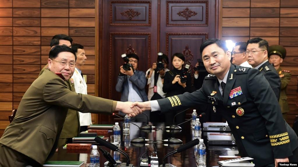 韓國與朝鮮高級軍官2018年6月14日在板門店會晤(韓聯社)