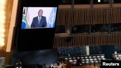 시릴 마리포사 남아프리카공화국 대통령이 23일 유엔총회에서 화상 연설하고 있다.