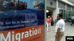 An exhibit in Dresden, a city that has seen protests and violence against refugees, purports to gain sympathy for Germany's more than a million new asylum seekers, some of whom are finding it so difficult that they want to go back, July 7, 2016. (H. Murdo
